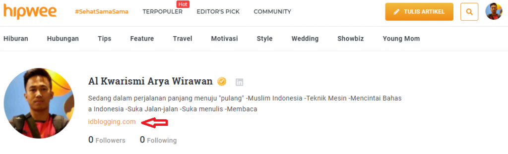 link website muncul di halaman profile